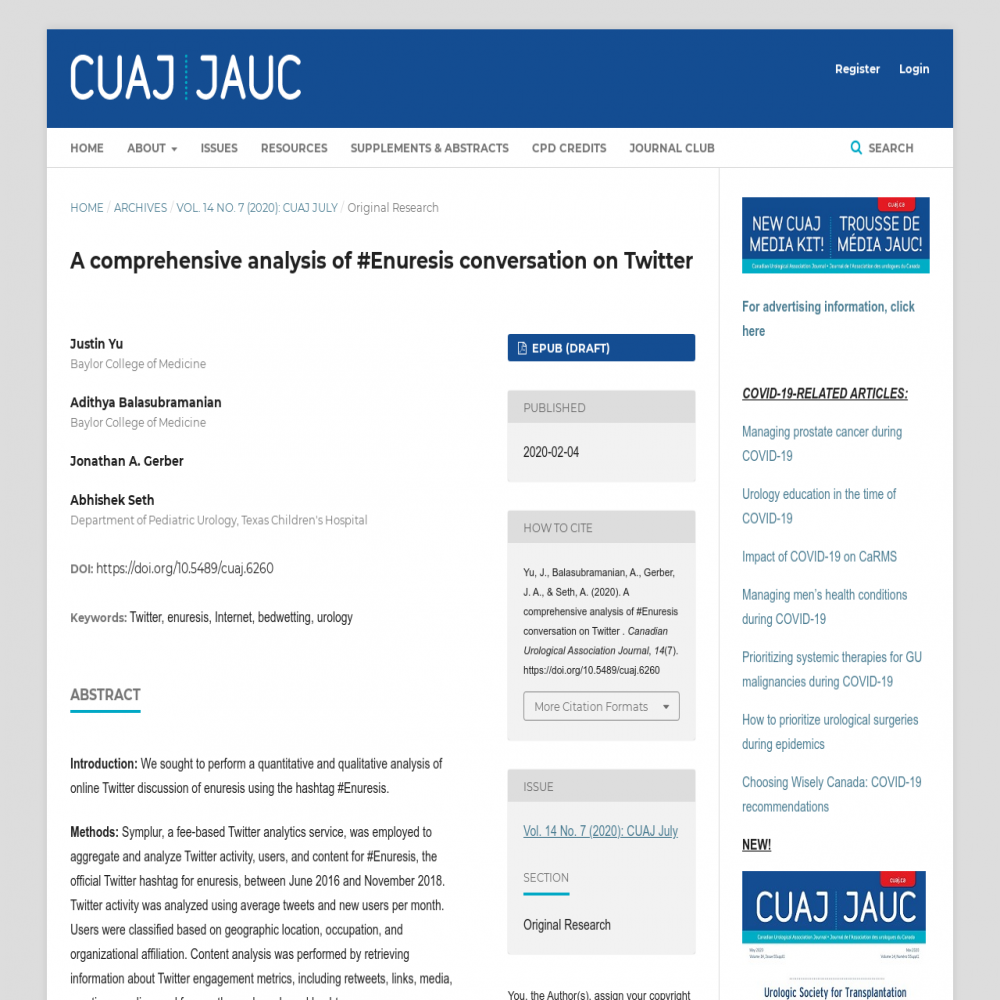 A healthcare social media research article published in Canadian Urological Association Journal, February 3, 2020