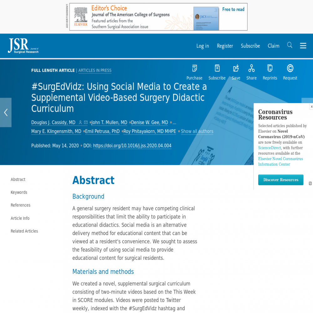 A healthcare social media research article published in Journal of Surgical Research, April 30, 2020