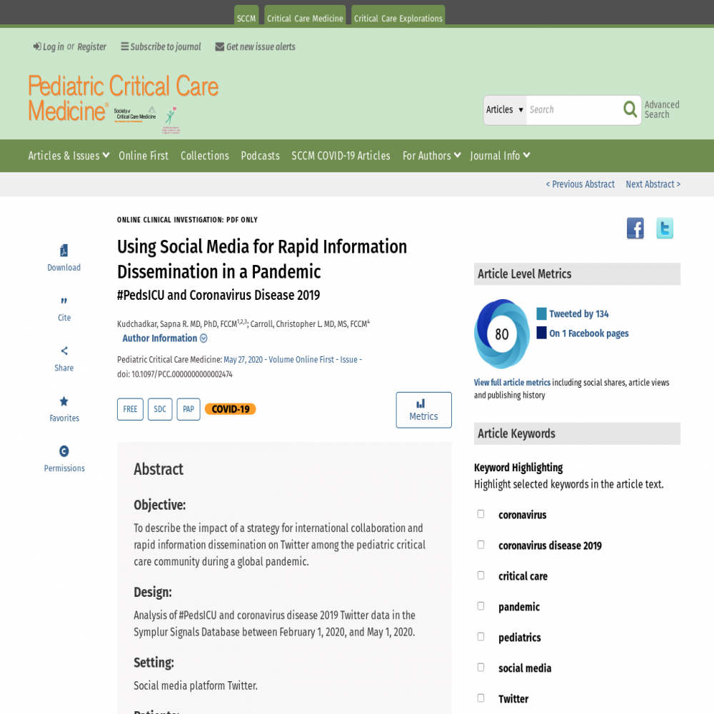 A healthcare social media research article published in Pediatric Critical Care Medicine, May 26, 2020
