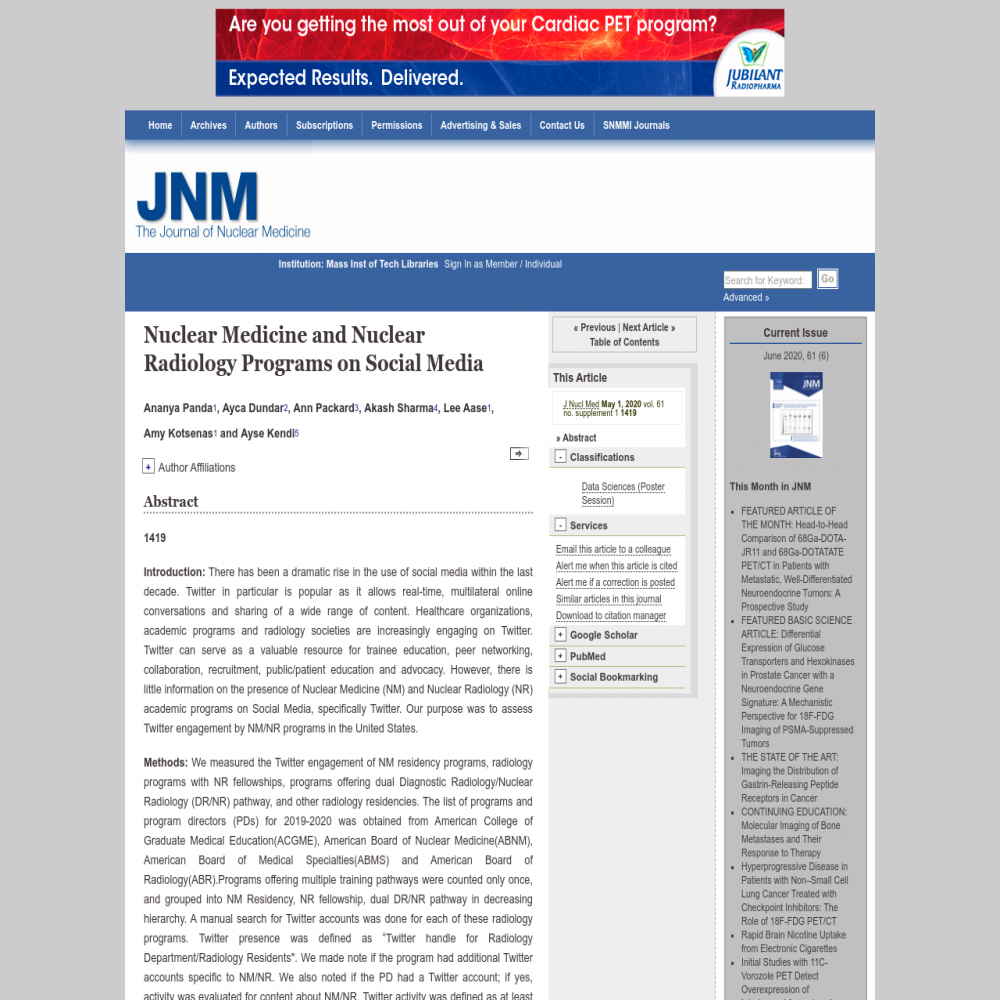 A healthcare social media research article published in The Journal of Nuclear Medicine,
