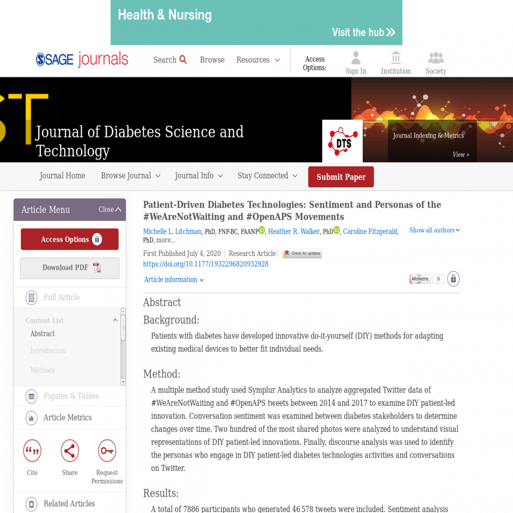 A healthcare social media research article published in Journal of Diabetes Science & Technology, July 3, 2020