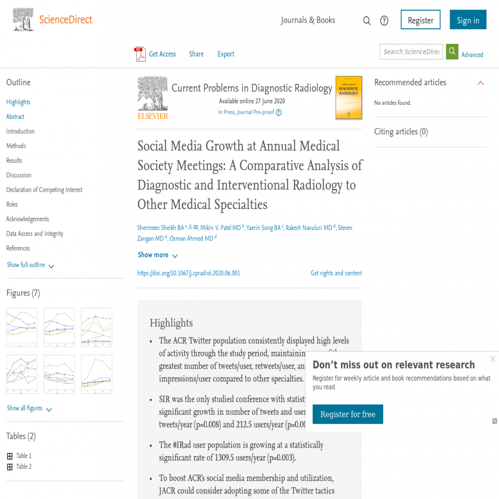 A healthcare social media research article published in Current Problems in Diagnostic Radiology, August 31, 2021