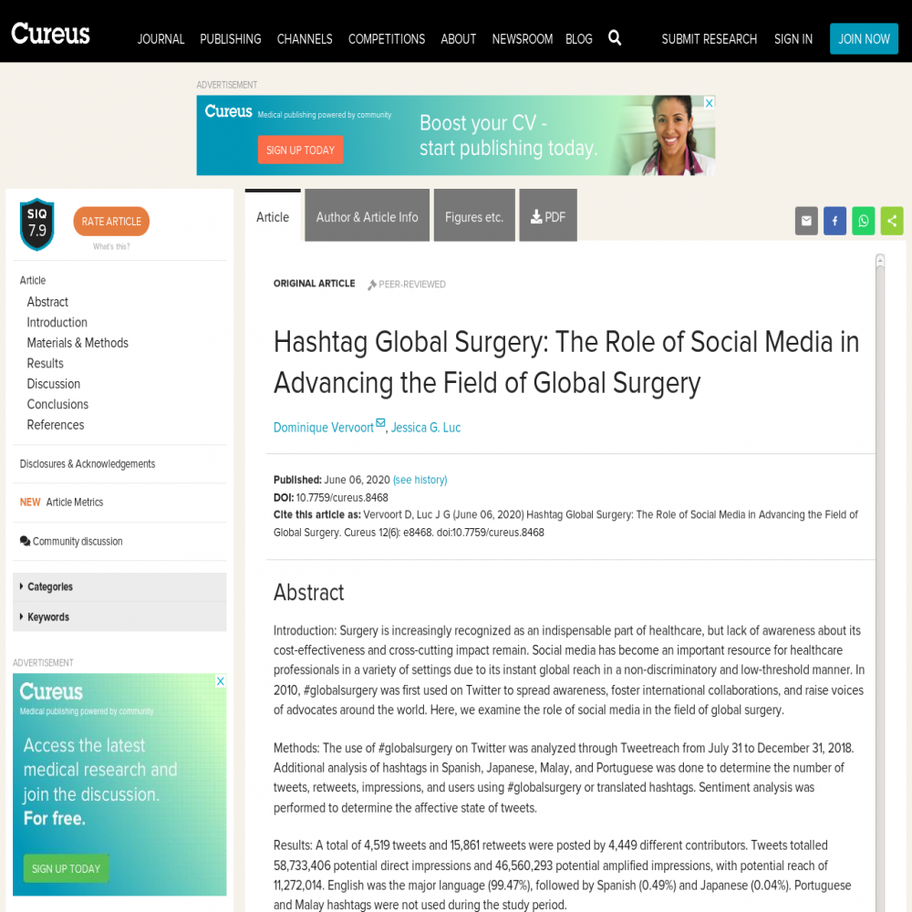A healthcare social media research article published in Cureus, June 5, 2020