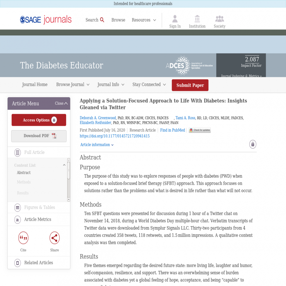 A healthcare social media research article published in Diabetes Educator, July 15, 2020