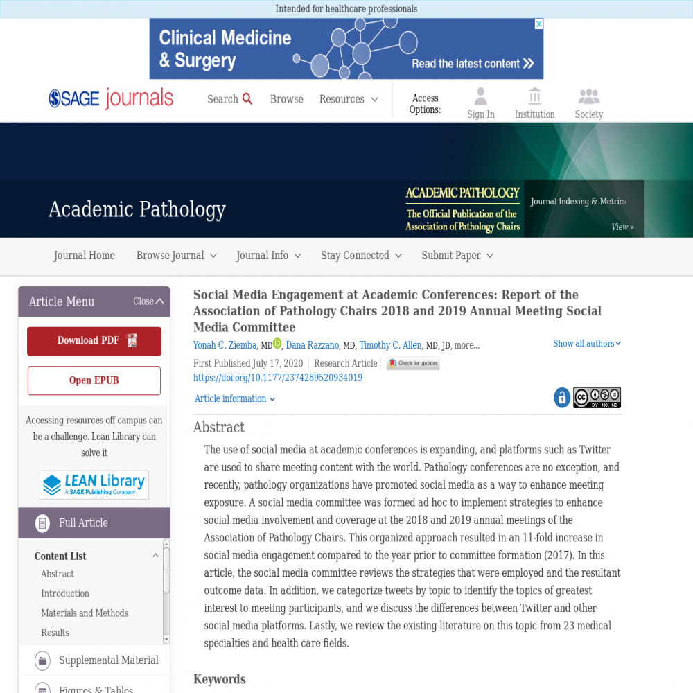 A healthcare social media research article published in Academic Pathology, July 16, 2020