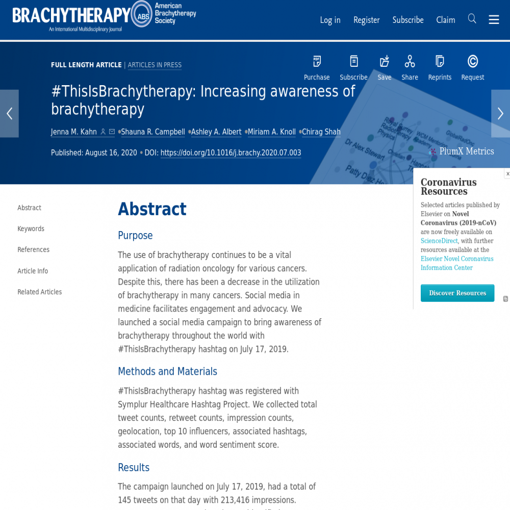 A healthcare social media research article published in Brachytherapy, July 31, 2020