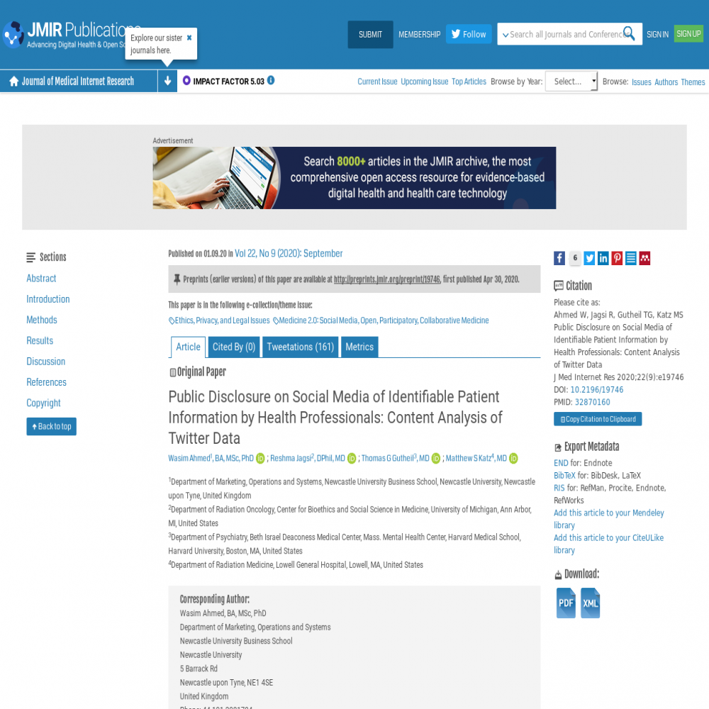 A healthcare social media research article published in Journal of Medical Internet Research, August 31, 2020