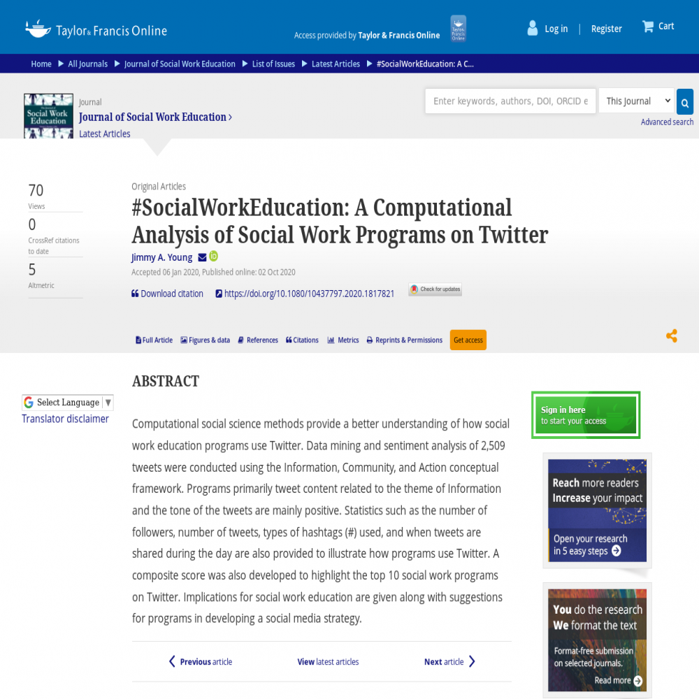A healthcare social media research article published in Journal of Social Work Education, October 1, 2020