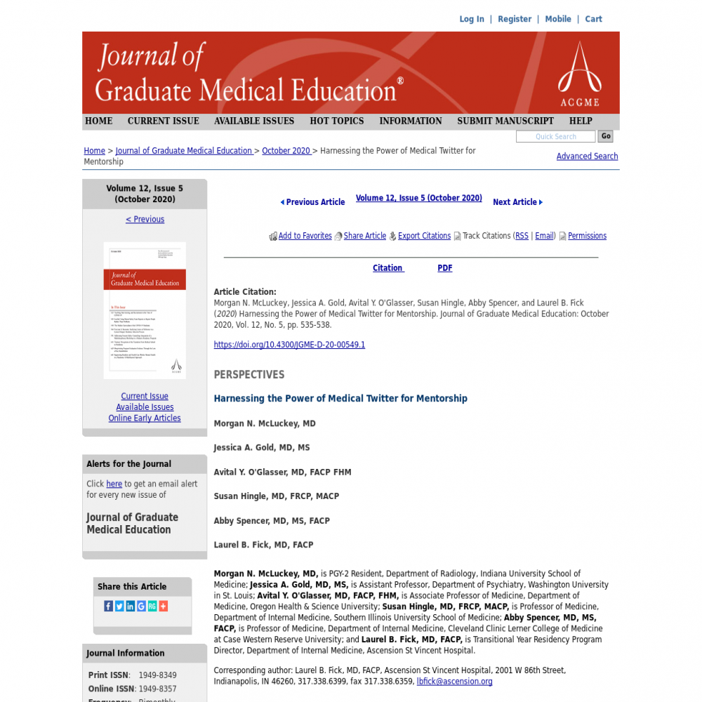 A healthcare social media research article published in Journal of Graduate Medical Education, September 30, 2020