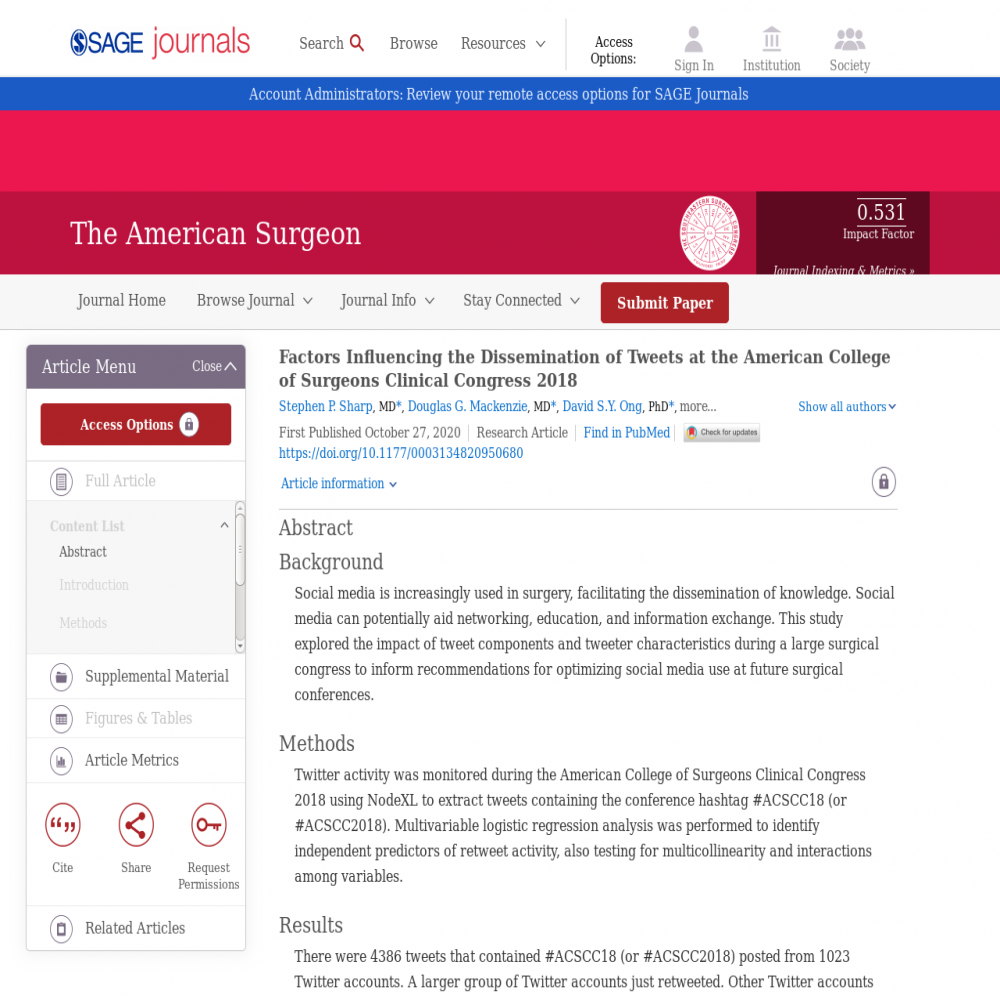 A healthcare social media research article published in American Surgeon, October 26, 2020
