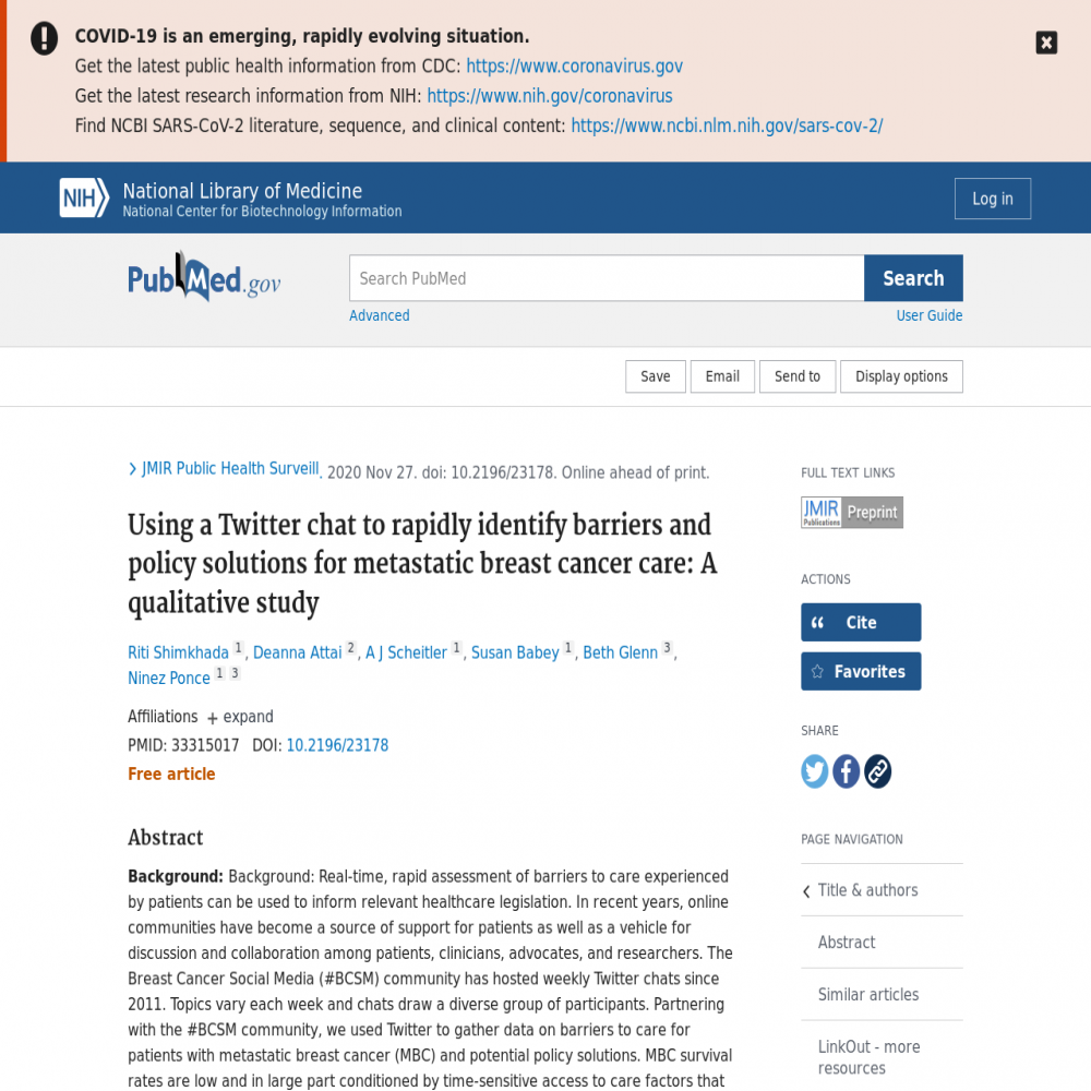A healthcare social media research article published in JMIR Public Health and Surveillance, January 25, 2021