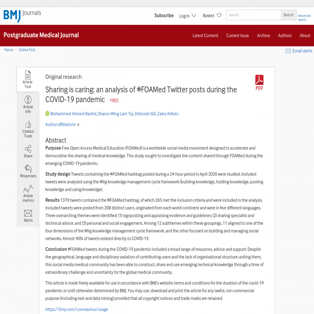 A healthcare social media research article published in Postgraduate Medical Journal, December 13, 2020