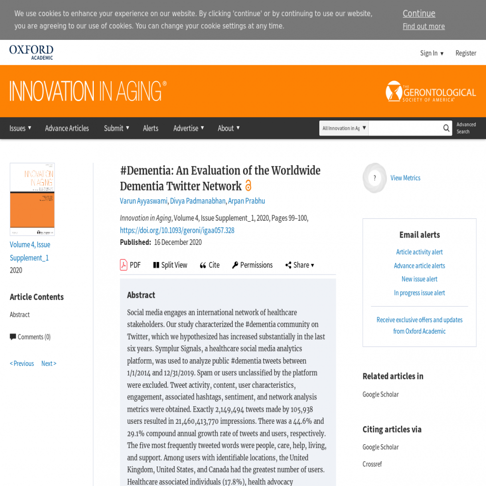 A healthcare social media research article published in Innovation in Aging, December 15, 2020