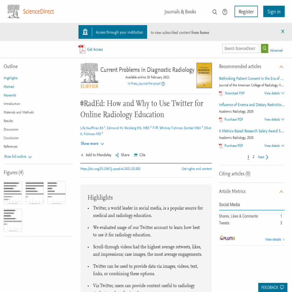 A healthcare social media research article published in Current Problems in Diagnostic Radiology, April 30, 2021