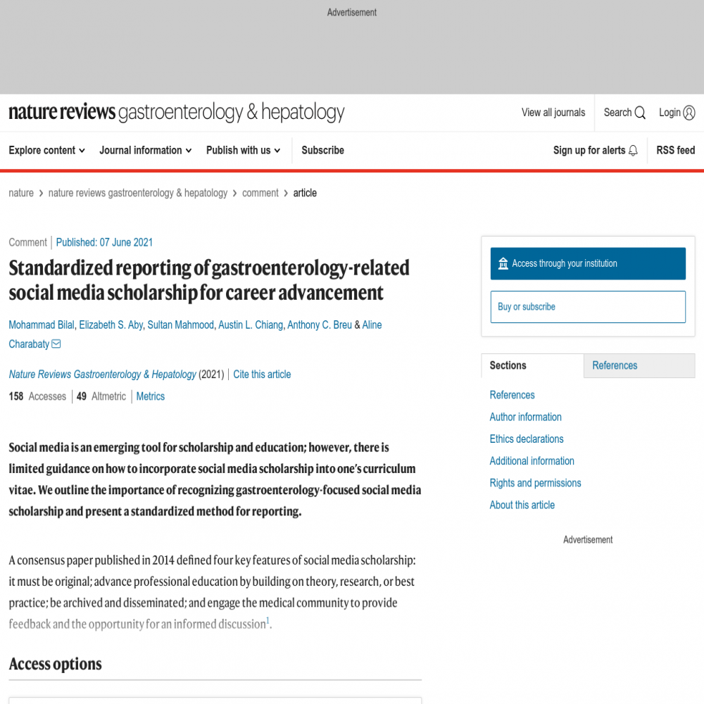 A healthcare social media research article published in Nature Reviews Gastroenterology & Hepatology, June 6, 2021