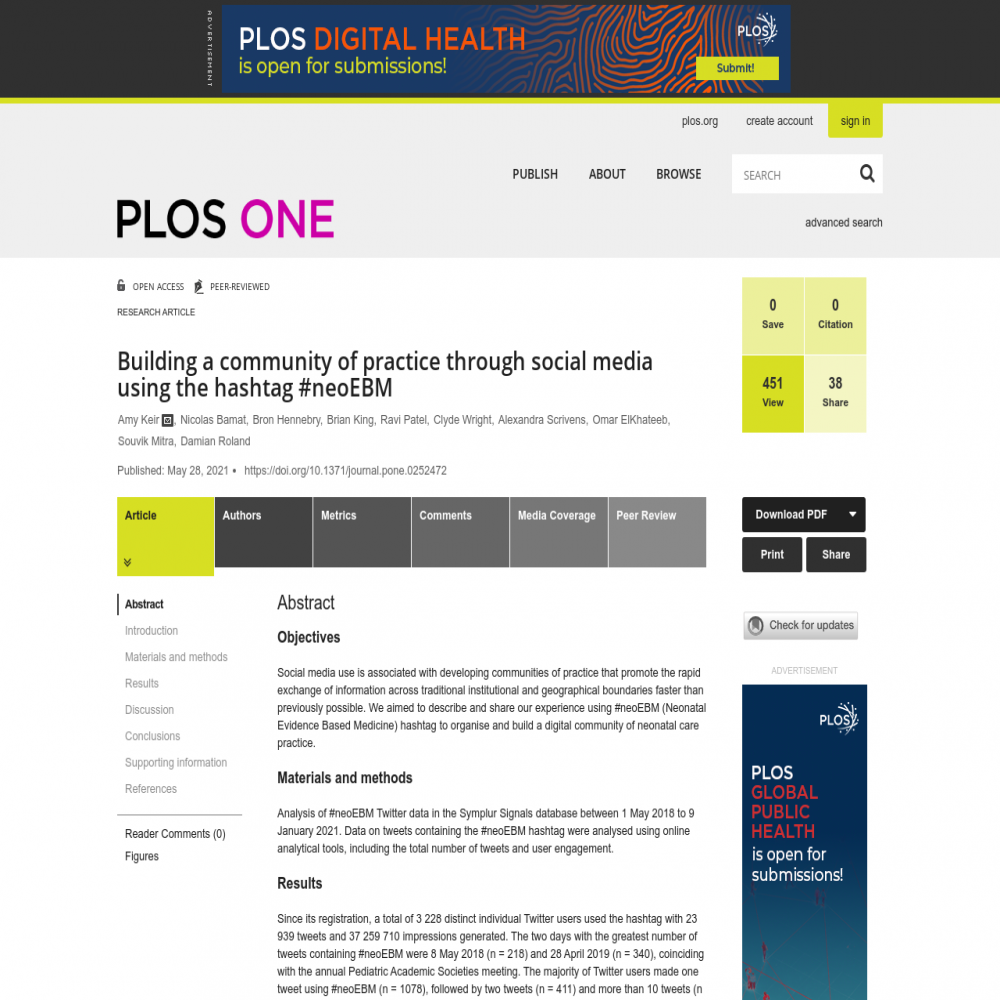 A healthcare social media research article published in PLoS ONE, May 27, 2021