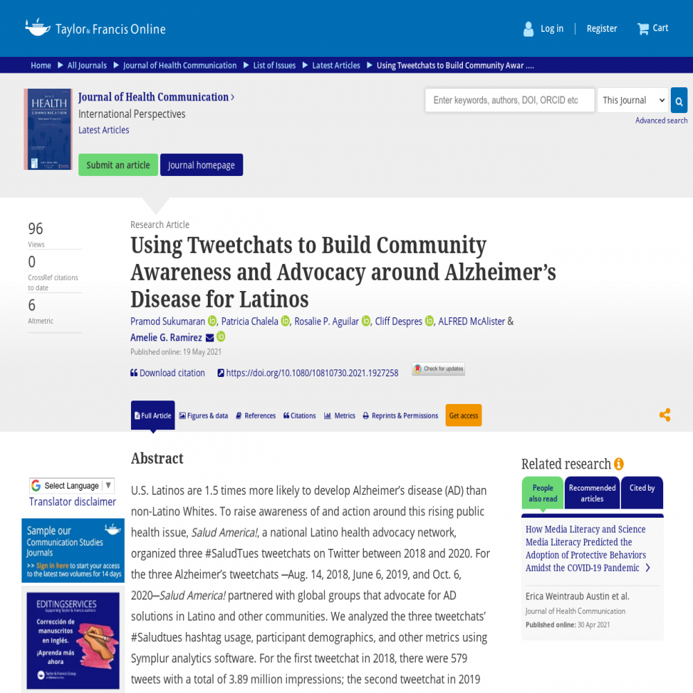 A healthcare social media research article published in Journal of Health Communication, May 18, 2021