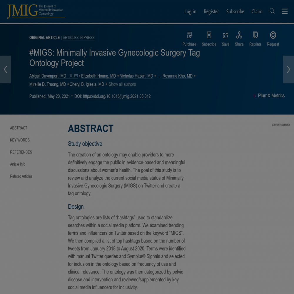 A healthcare social media research article published in Journal of Minimally Invasive Gynecology, April 30, 2021