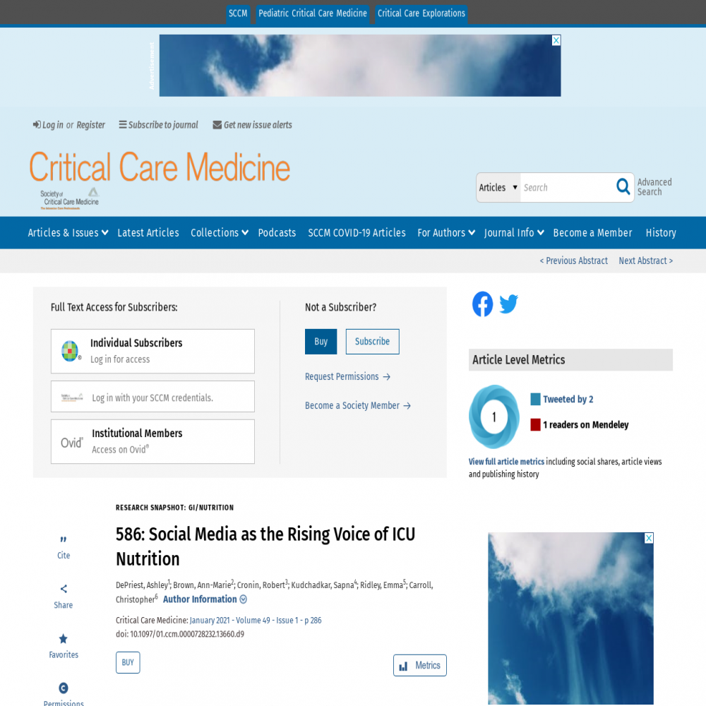 A healthcare social media research article published in Critical Care Medicine, December 10, 2020