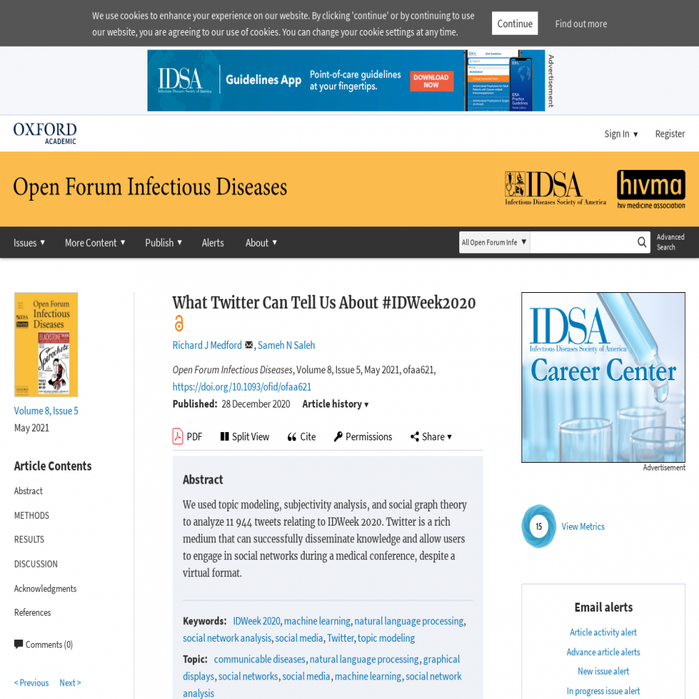 A healthcare social media research article published in Open Forum Infectious Diseases, December 27, 2020