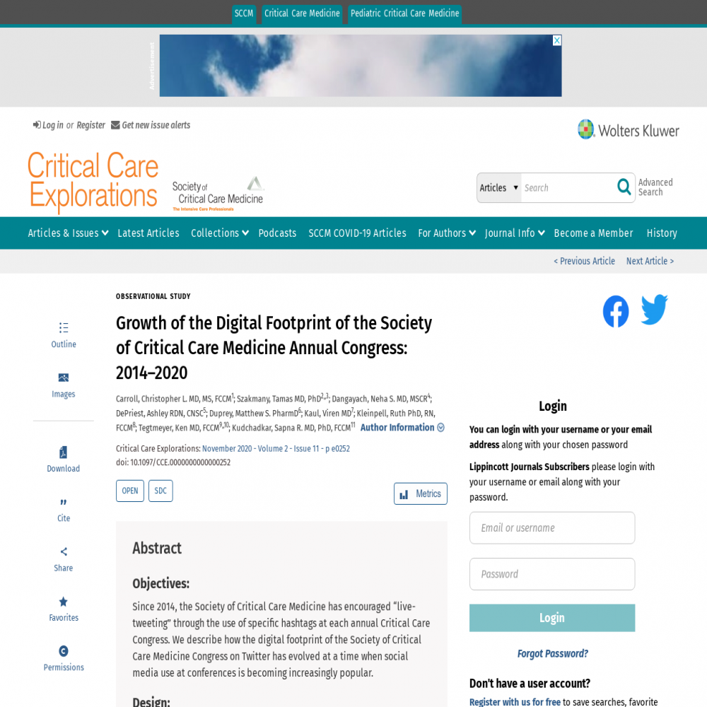 A healthcare social media research article published in Critical Care Explorations, November 11, 2020