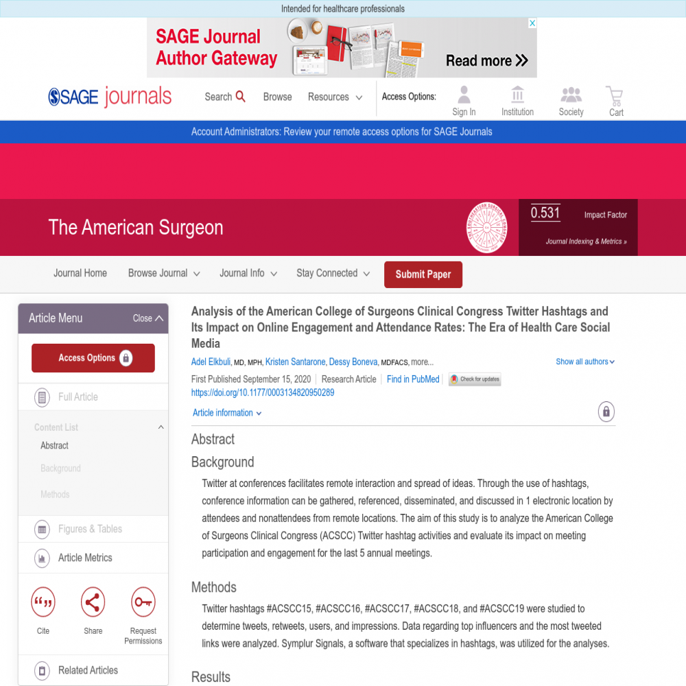 A healthcare social media research article published in The American Surgeon, September 14, 2020