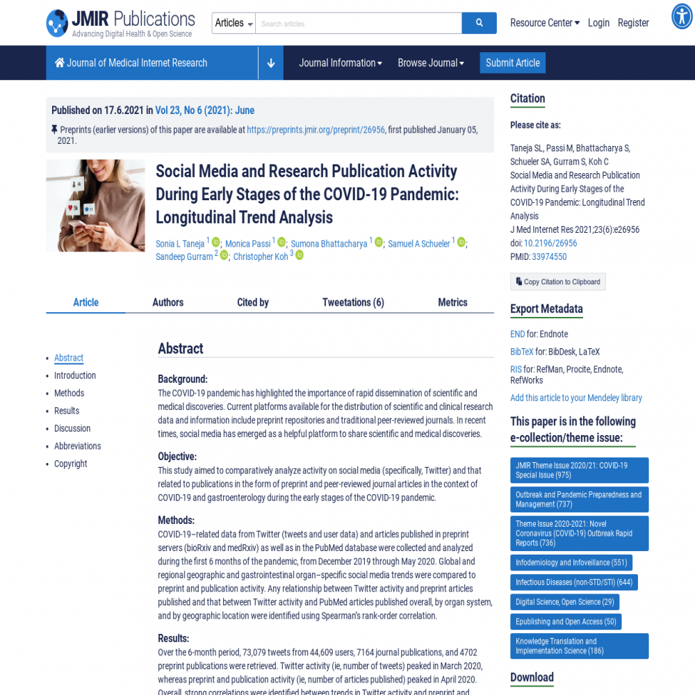 A healthcare social media research article published in Journal of Medical Internet Research, June 16, 2021