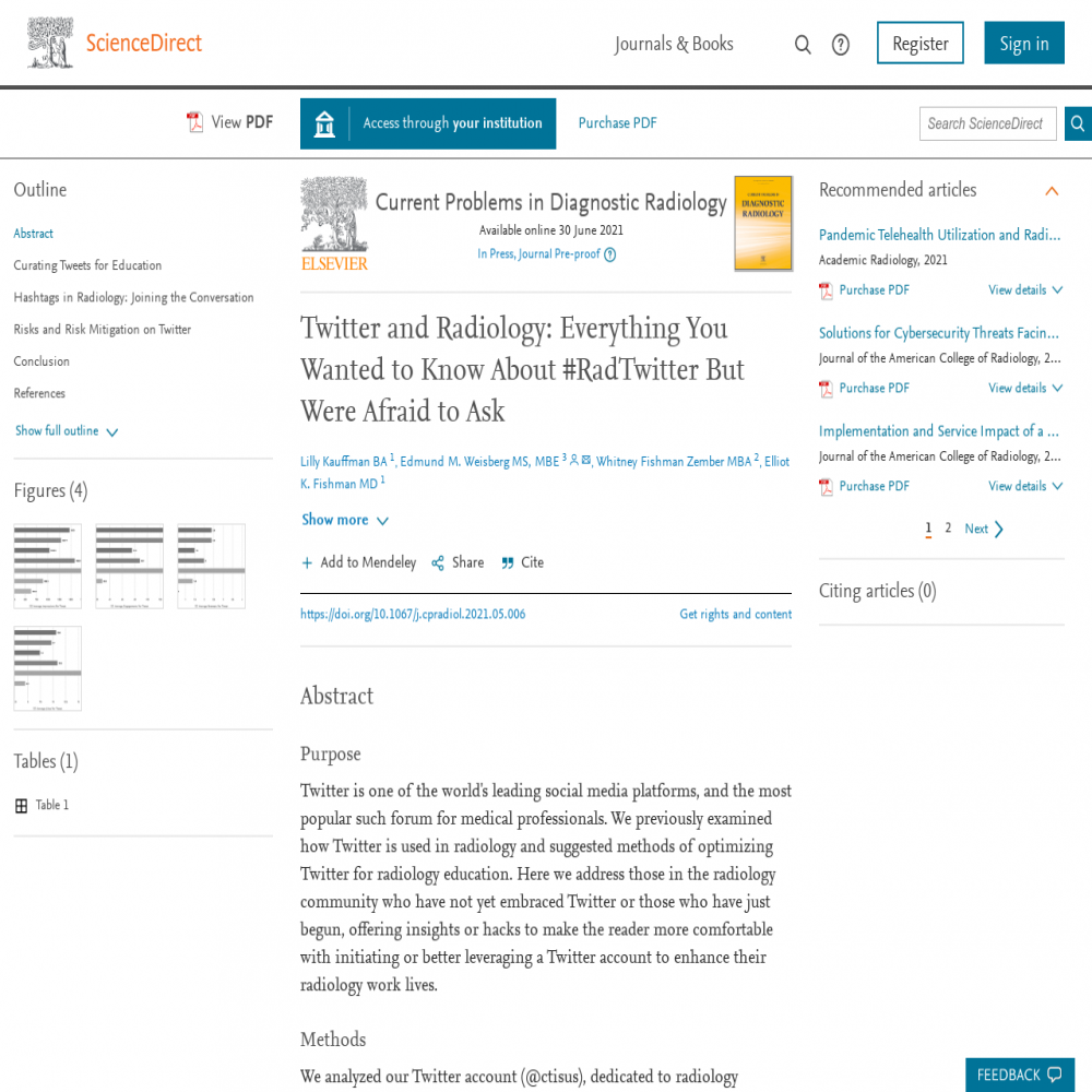A healthcare social media research article published in Current Problems in Diagnostic Radiology, May 31, 2021