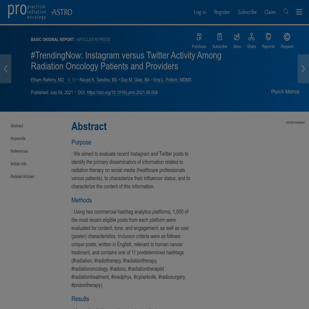 A healthcare social media research article published in Practical Radiation Oncology, June 30, 2021