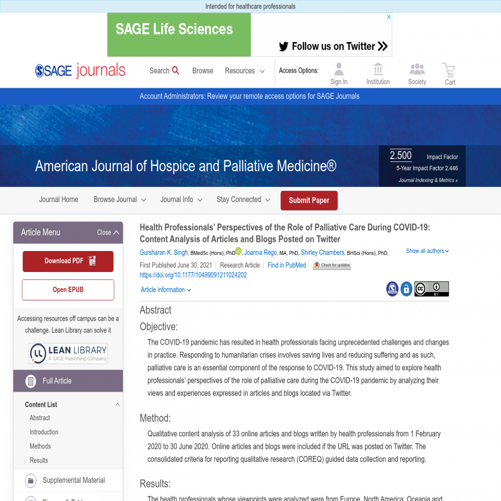 A healthcare social media research article published in American Journal of Hospice and Palliative Medicine®, June 29, 2021