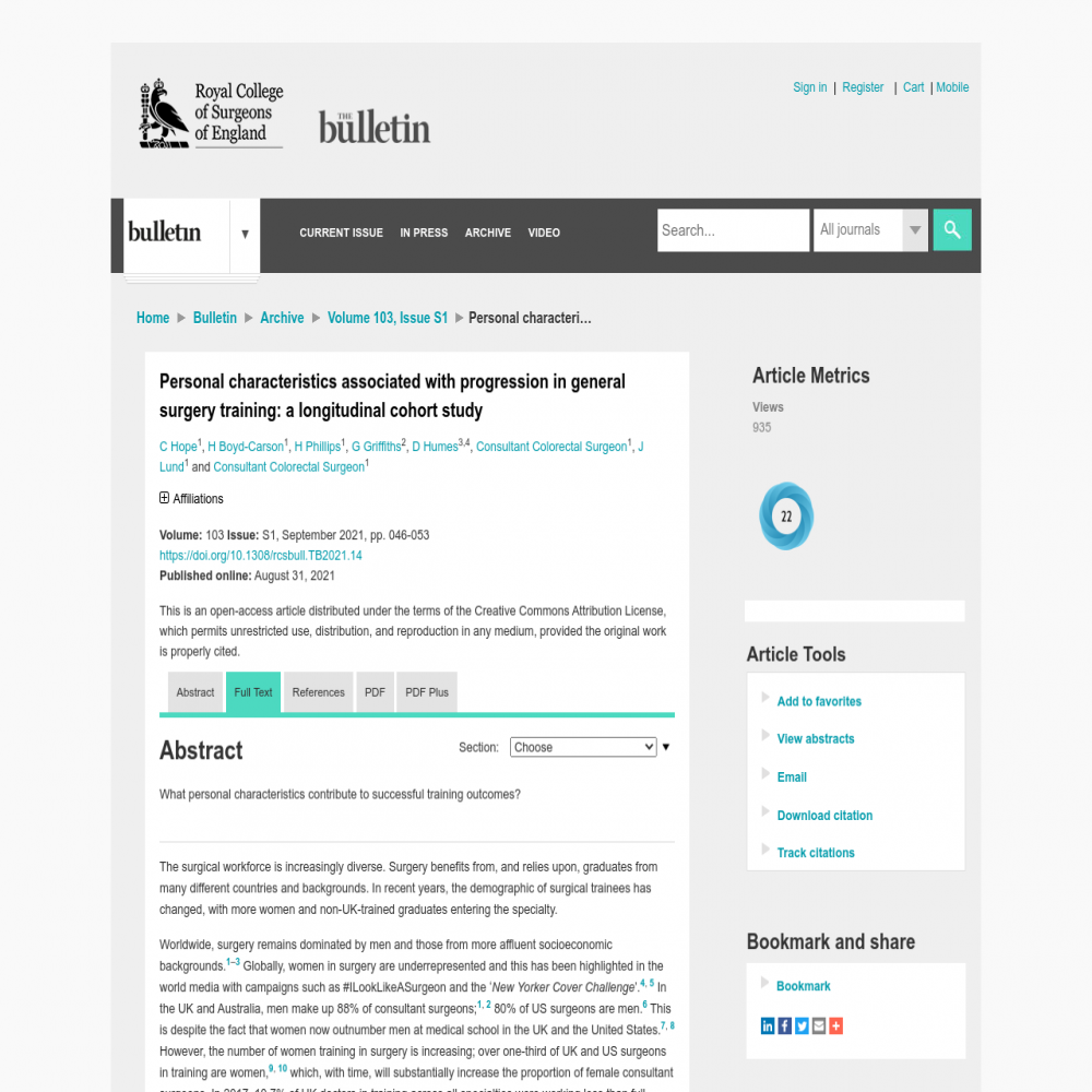 A healthcare social media research article published in Bulletin of The Royal College of Surgeons of England, August 31, 2021