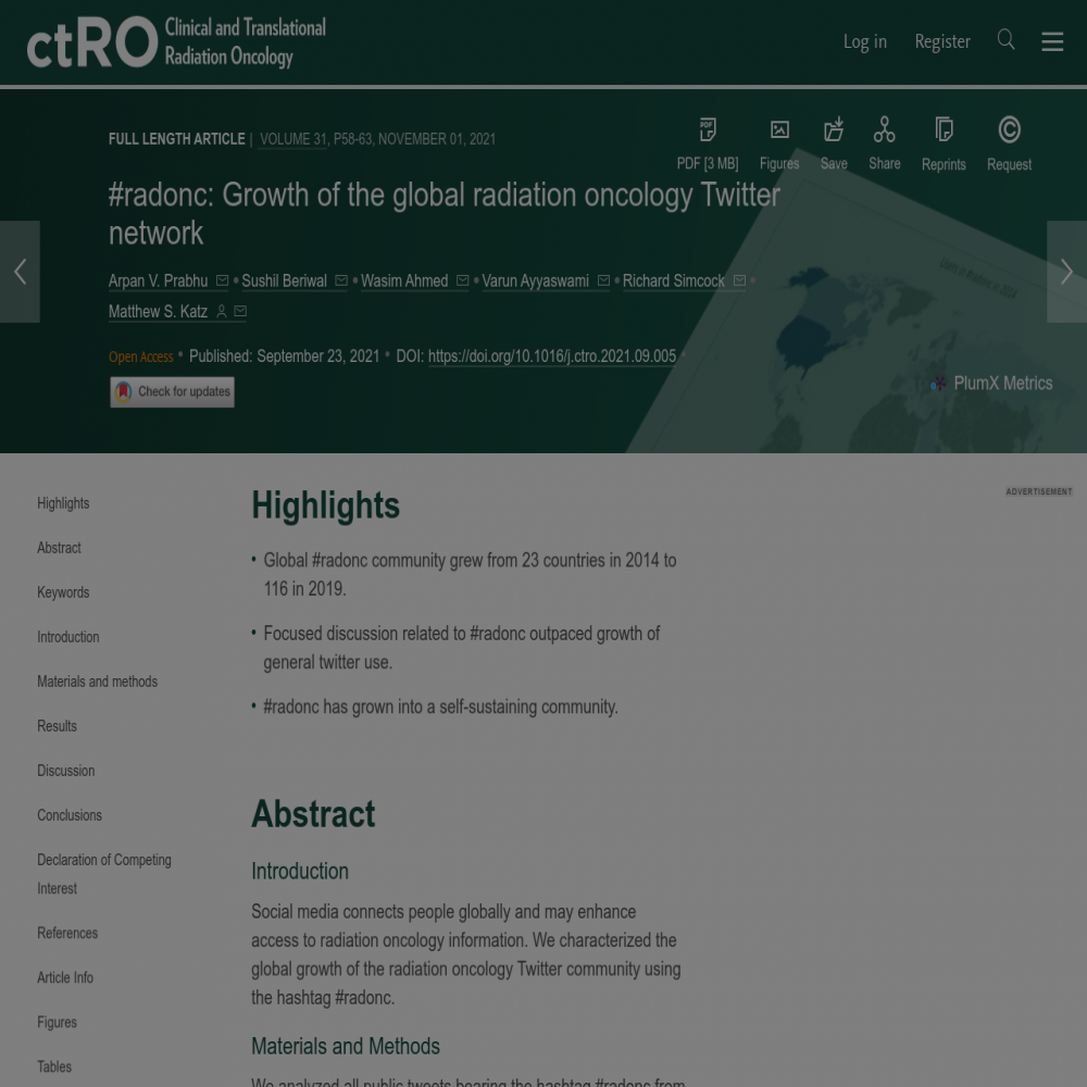 A healthcare social media research article published in Clinical and Translational Radiation Oncology, October 31, 2021