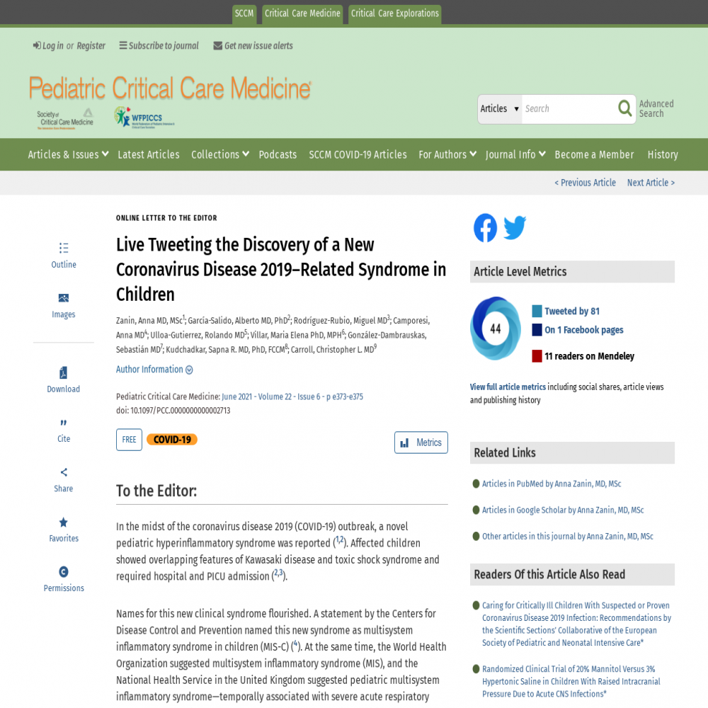 A healthcare social media research article published in Pediatric Critical Care Medicine, February 17, 2021
