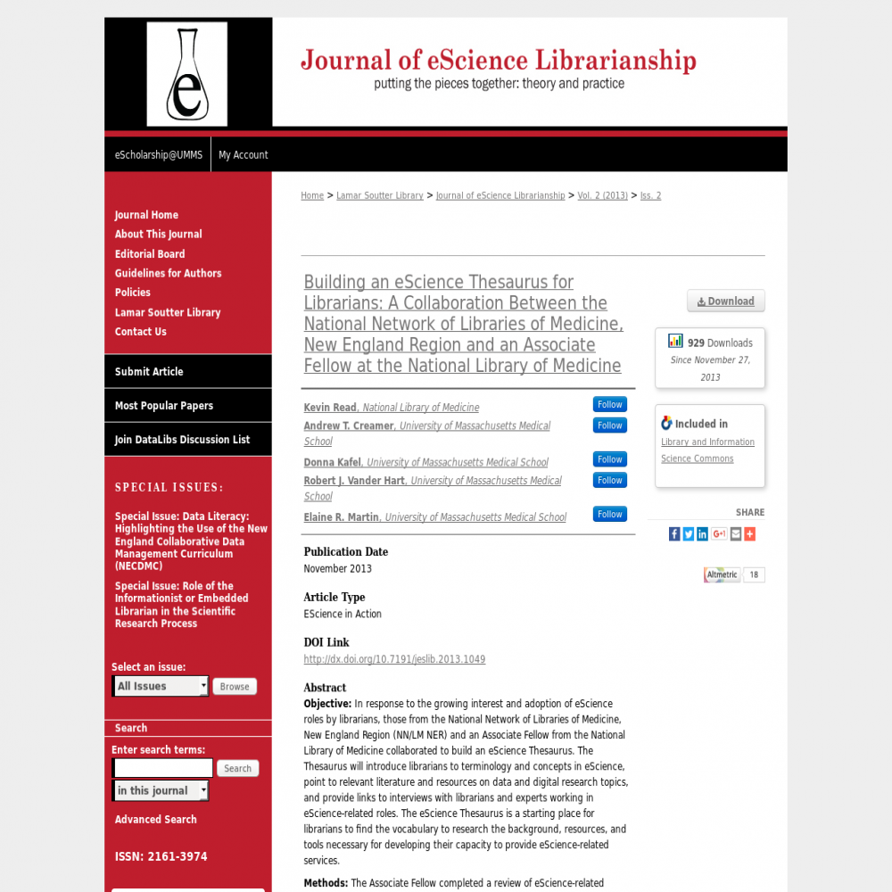 A healthcare social media research article published in Journal of eScience Librarianship, November 26, 2013
