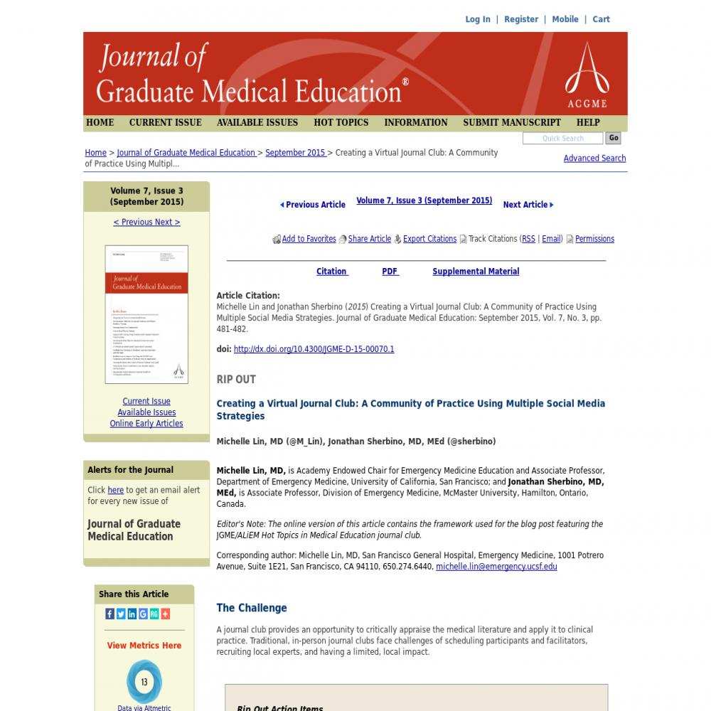 A healthcare social media research article published in Journal of Graduate Medical Education, 2015