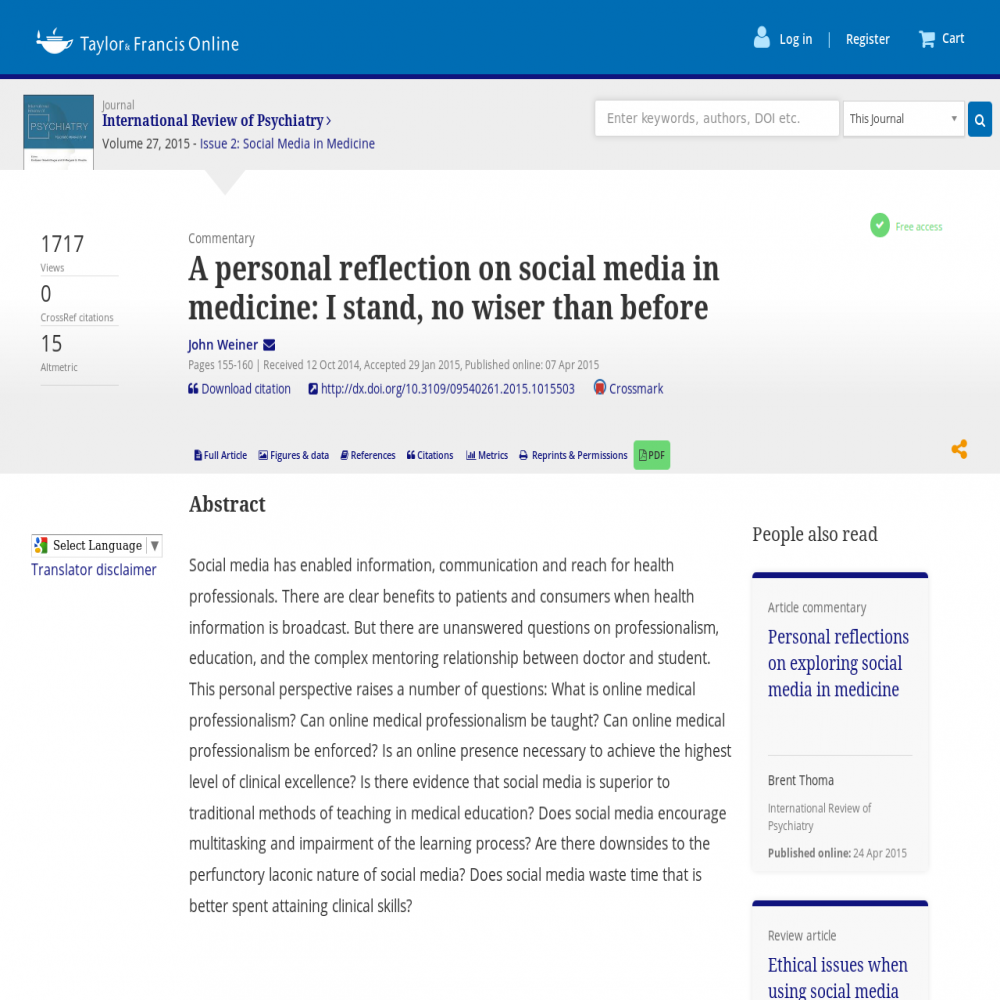 A healthcare social media research article published in International Review of Psychiatry, April 6, 2015