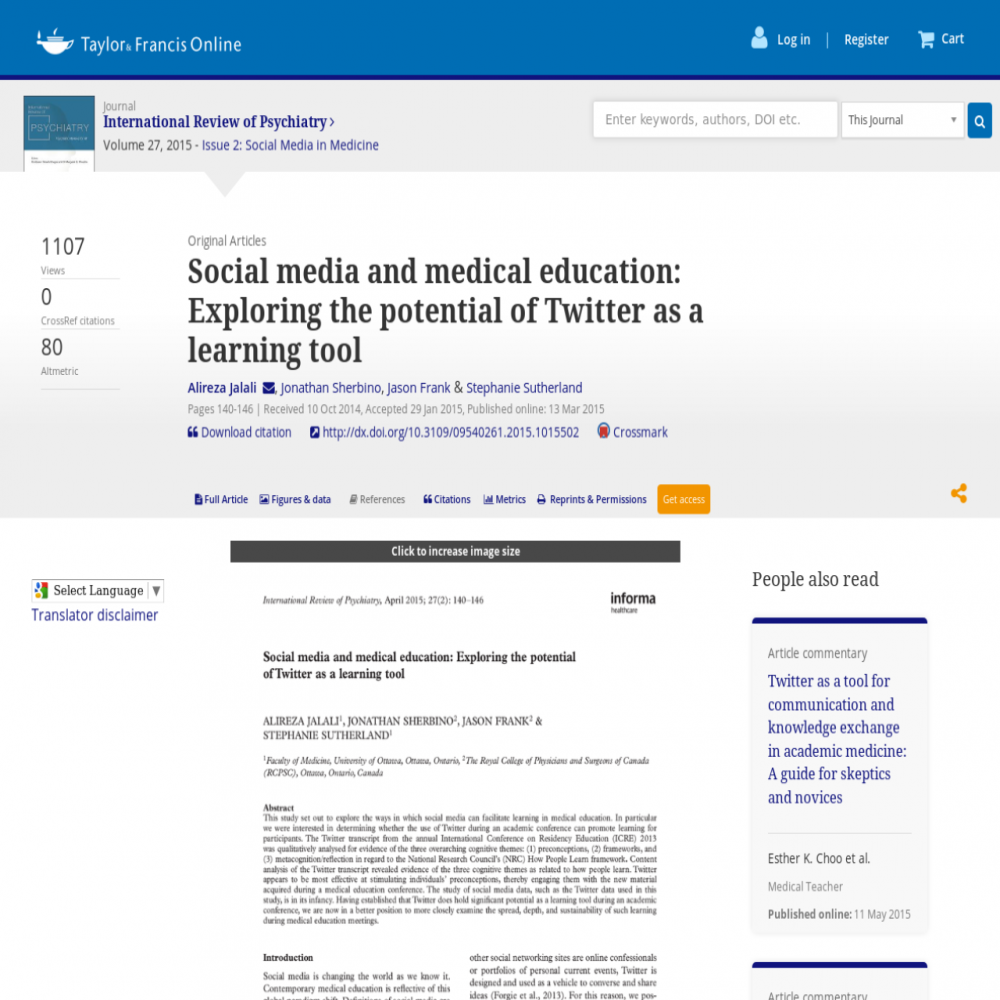 A healthcare social media research article published in International Review of Psychiatry, March 13, 2015