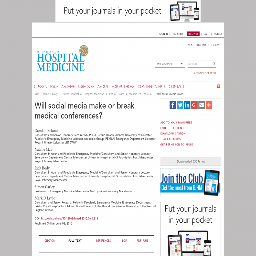 A healthcare social media research article published in British Journal of Hospital Medicine (17508460), June 1, 2015