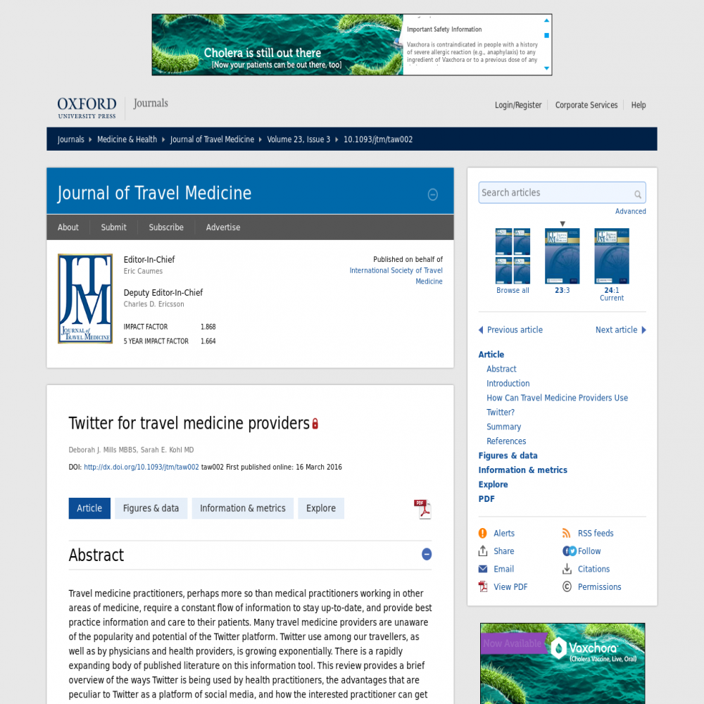 A healthcare social media research article published in Journal of Travel Medicine, 2016