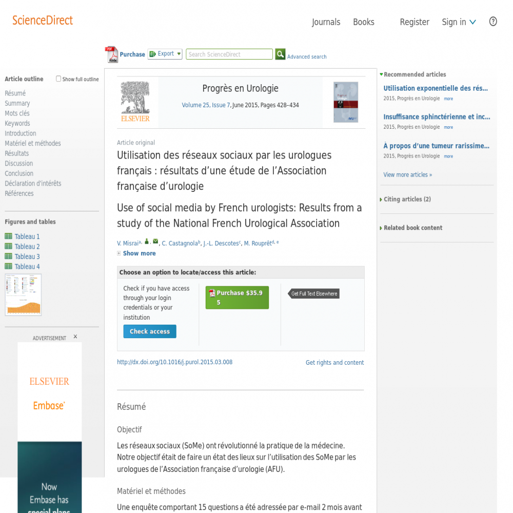 A healthcare social media research article published in Progrès en Urologie, May 31, 2015