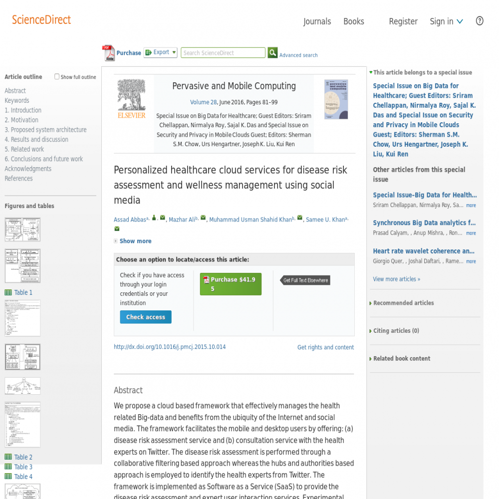 A healthcare social media research article published in Pervasive and Mobile Computing, 2015