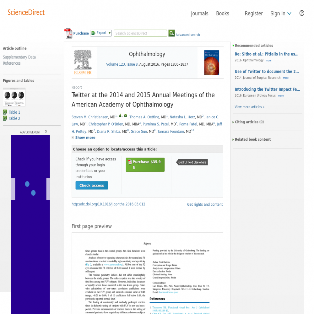A healthcare social media research article published in Ophthalmology, July 31, 2016