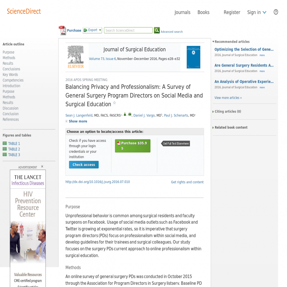 A healthcare social media research article published in Journal of Surgical Education, 2016