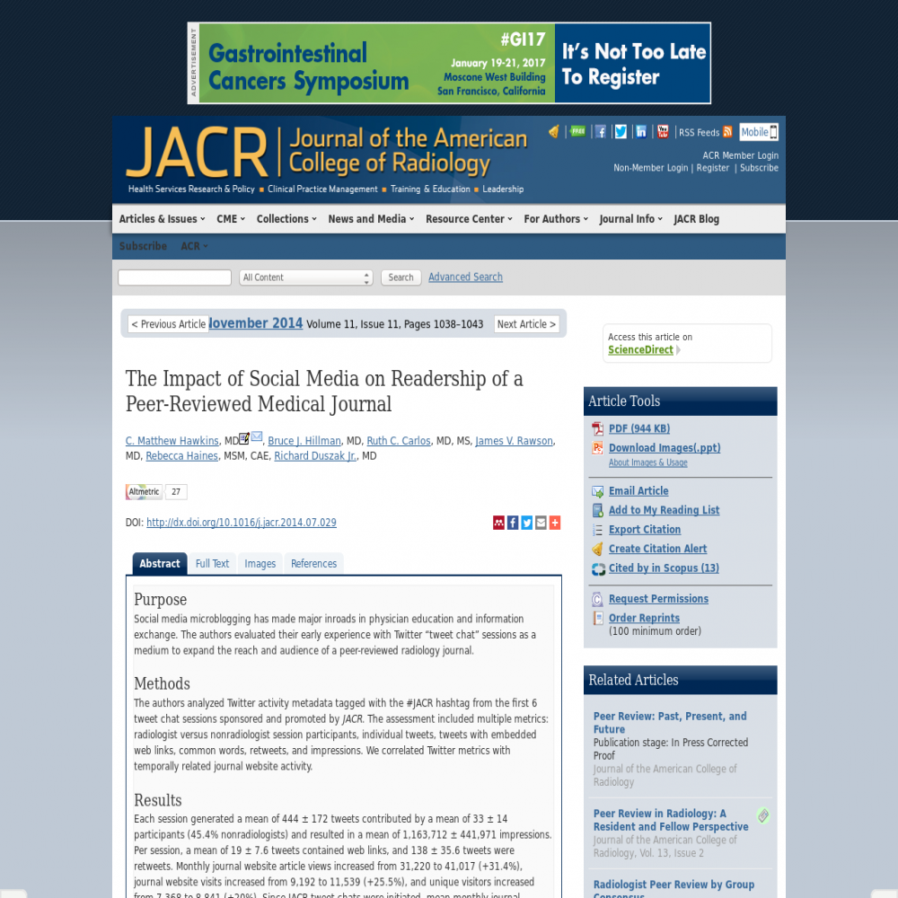 A healthcare social media research article published in Journal of the American College of Radiology, October 31, 2014