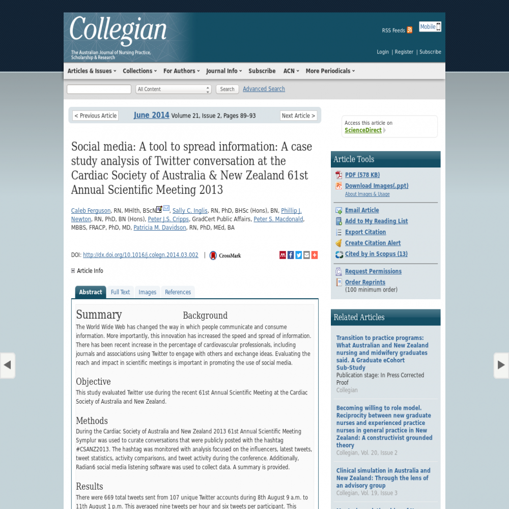 A healthcare social media research article published in Australia., May 31, 2014