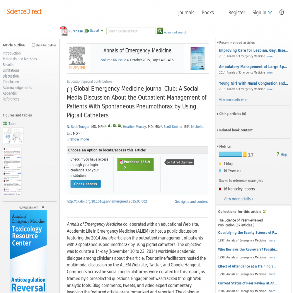 A healthcare social media research article published in Annals of Emergency Medicine, September 30, 2015