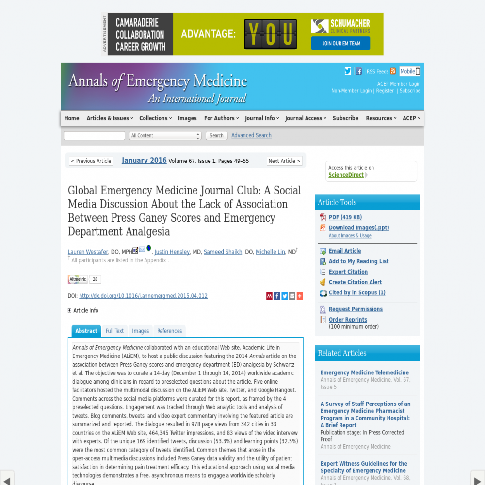 A healthcare social media research article published in Annals of Emergency Medicine, December 31, 2015
