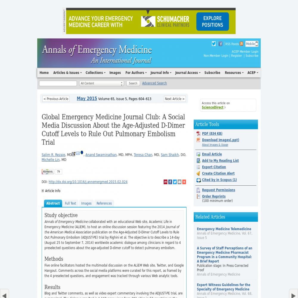 A healthcare social media research article published in Annals of Emergency Medicine, April 30, 2015