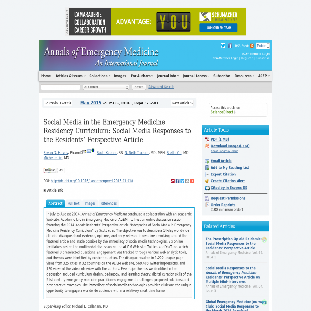 A healthcare social media research article published in Annals of Emergency Medicine, May 1, 2015
