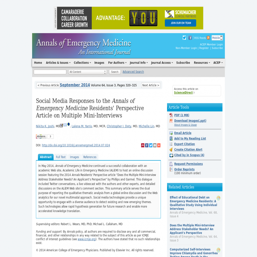 A healthcare social media research article published in Annals of Emergency Medicine, August 31, 2014